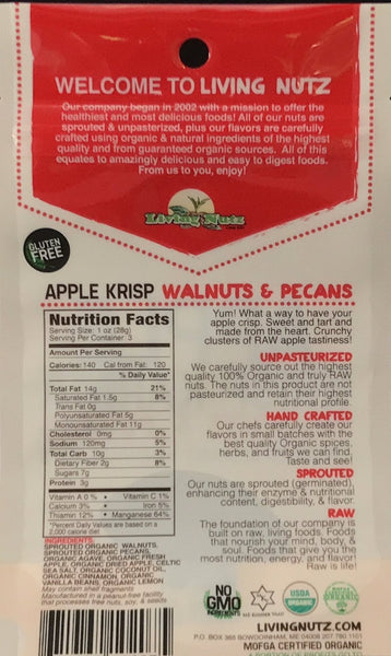 Sprouted nuts with apple flavor. Sprouted walnuts & pecans. Living Nutz