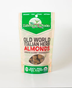 Organic raw sprouted nuts. Sprouted raw & unpasteurized almonds with Italian herb. Living Nutz. True healthy snacking.