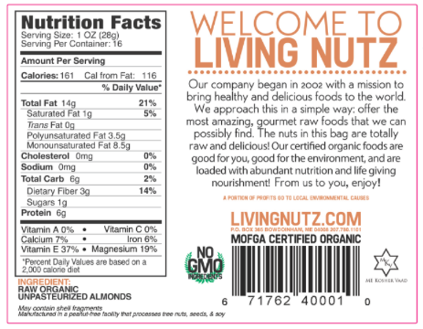 Raw Almonds. Organic & unpasteurized almonds, raw nuts