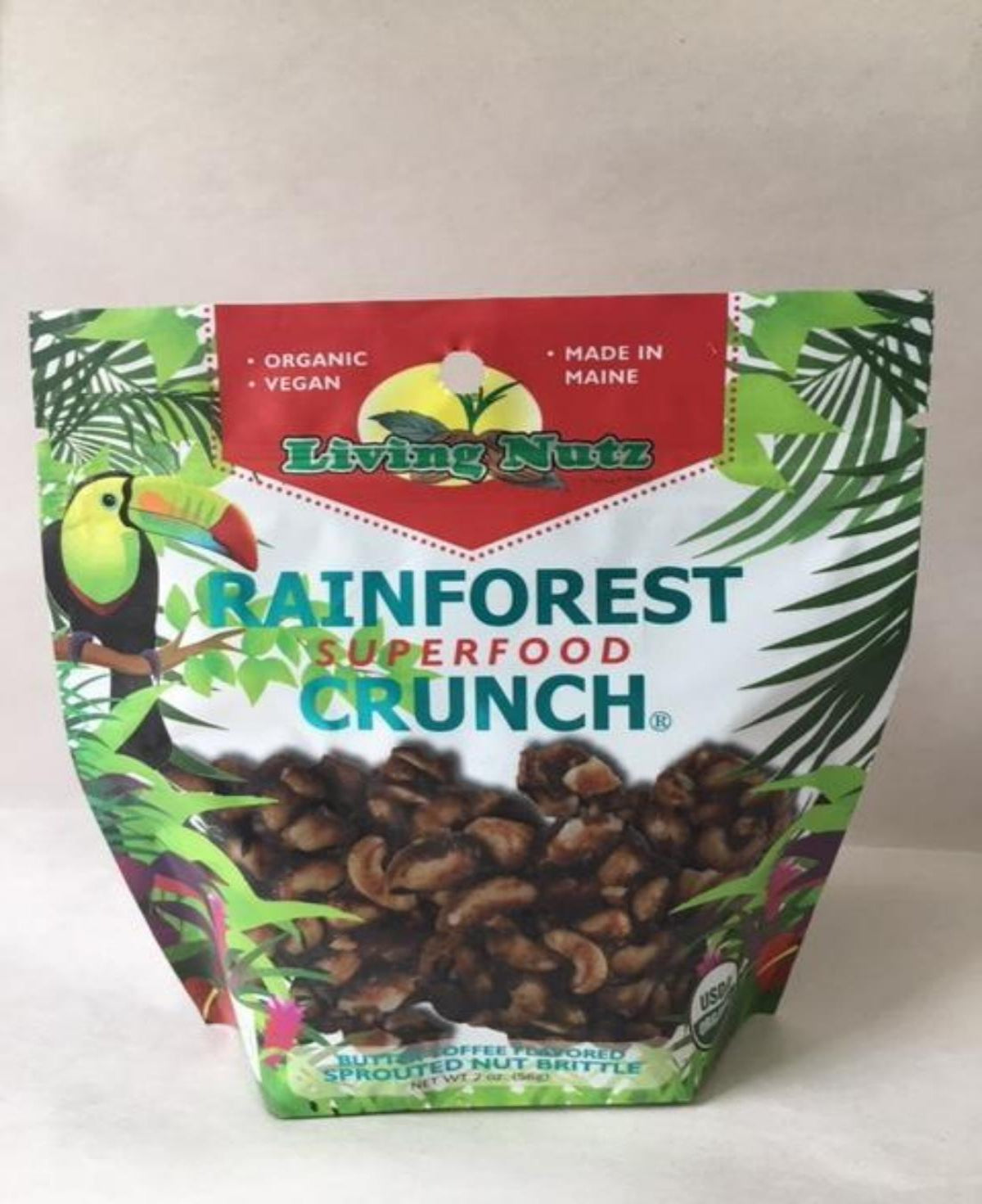 RainForest Crunch Nut Brittle. Organic Unpasteurized Sprouted