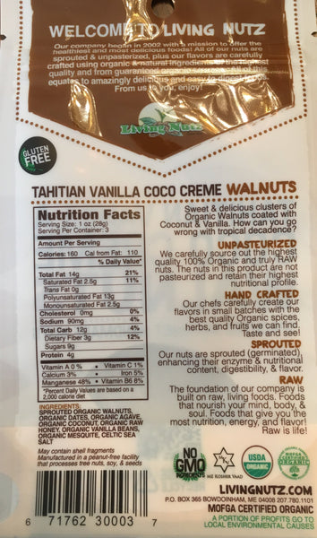 Sprouted nuts. Organic walnuts with vanilla & coconut. Organic nut snacks. Living Nutz