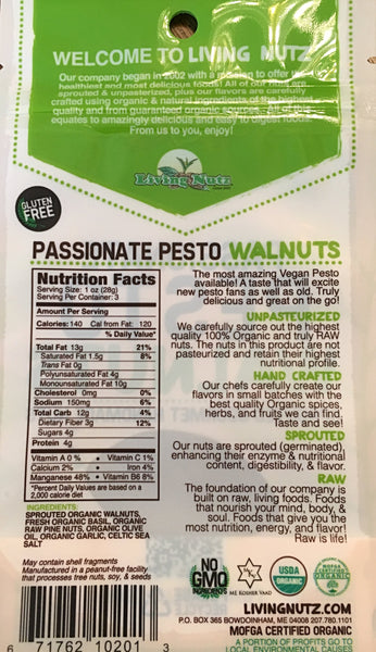 Sprouted nuts. Organic flavored raw walnuts & pesto. Healthy nut snacks. Living nuts.