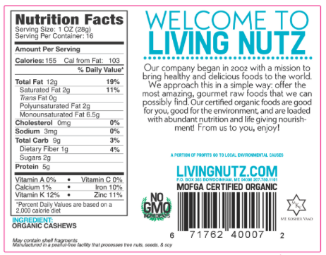 Cashews. Raw cashews. Organic cashews. Raw Nuts-Living Nutz