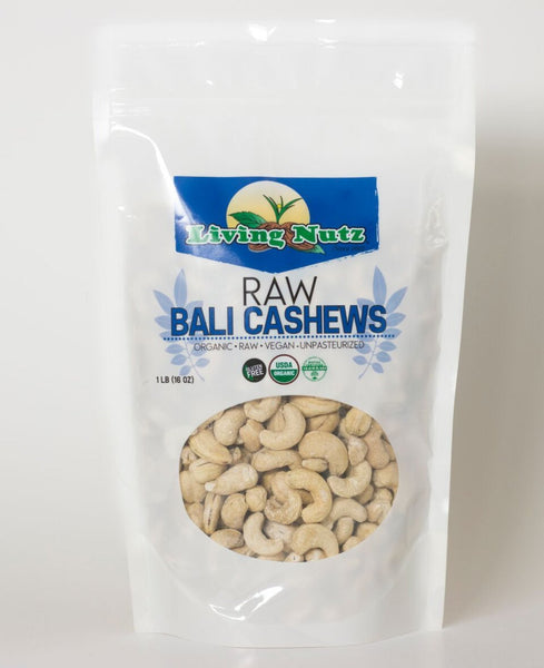 raw organic Bali cashews. Fresh  raw Bali cashews are a healthy nut to eat
