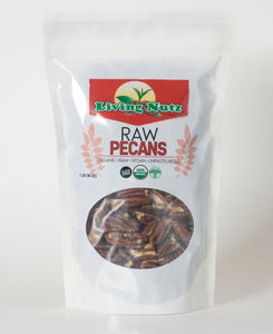 Raw organic pecans grown in the US. Pecans are a healthy type of nut.