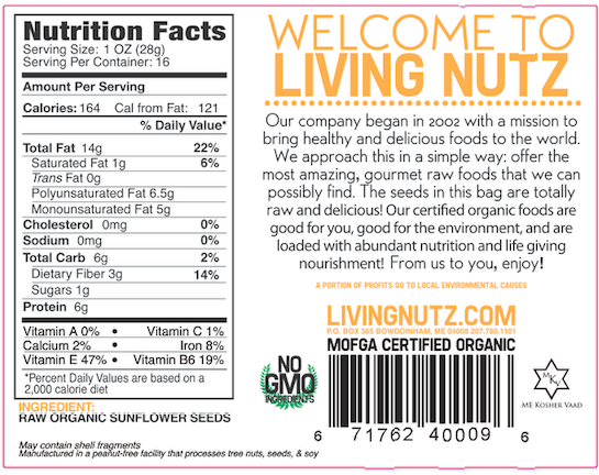 Organic sunflower seeds. Raw Sunflower seeds. Organic seedsLiving Nutz