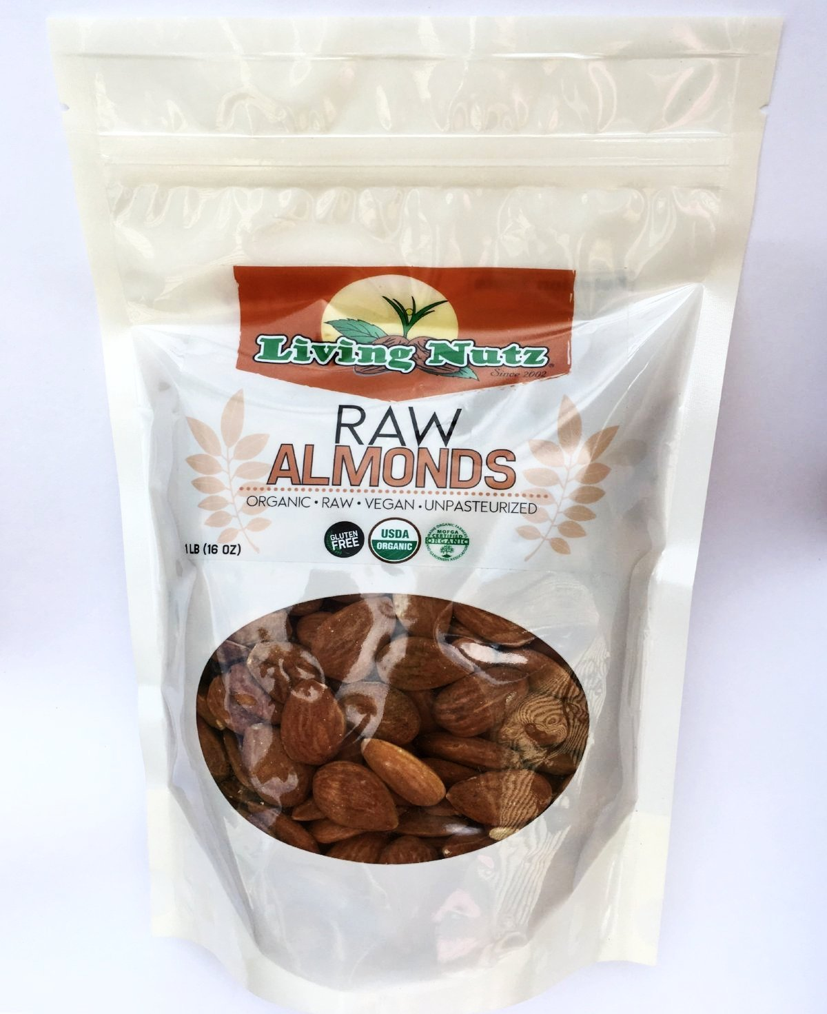 Organic raw unpasteurized almonds in bulk sizes
