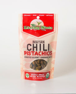 Organic raw sprouted nuts. Sprouted raw pistachios with chili seasoning. Healthy true snacking. Living nuts.