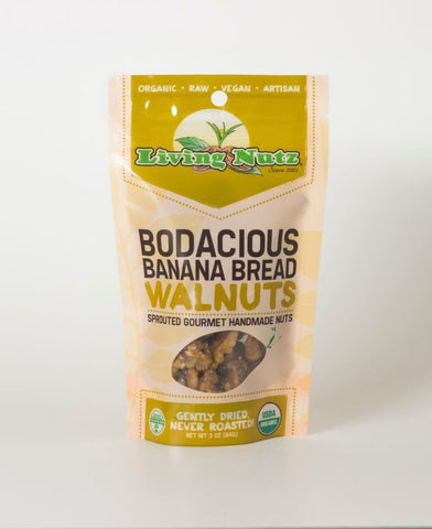Organic raw sprouted nuts. Sprouted raw walnuts with bananna. Sweet organic treat
