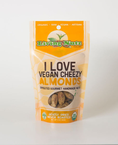 Organic raw sprouted nuts. Sprouted raw & unpasteurized almonds vegan cheesy flavor. Living Nutz