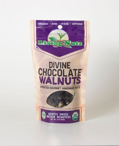 Organic raw sprouted nuts. Sprouted raw Walnuts with chocolate. Healthy truth about nuts!