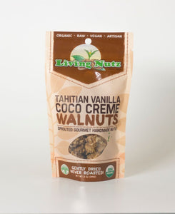 Organic raw sprouted nuts. Sprouted flavored raw walnuts with vanilla & coconut. Organic healthy true snacking. Living Nutz