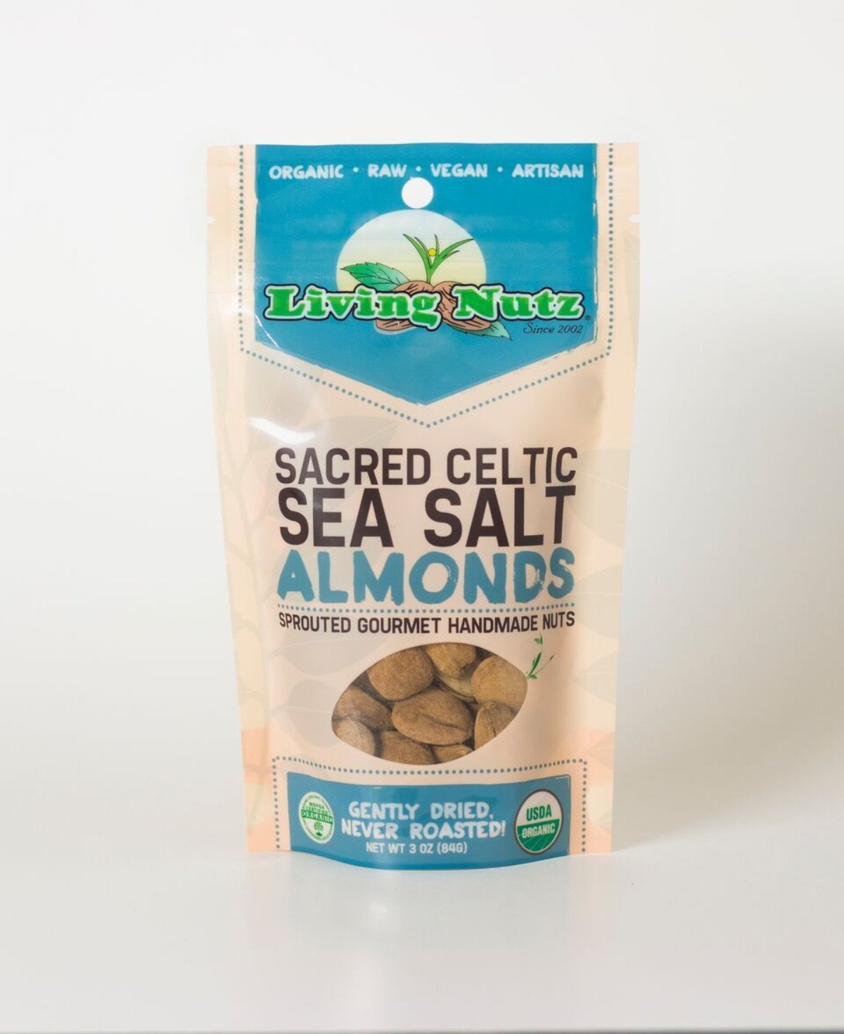 Organic raw sprouted nuts. Sprouted raw & unpasteurized almonds with sea salt. Living Nutz organic snacks.