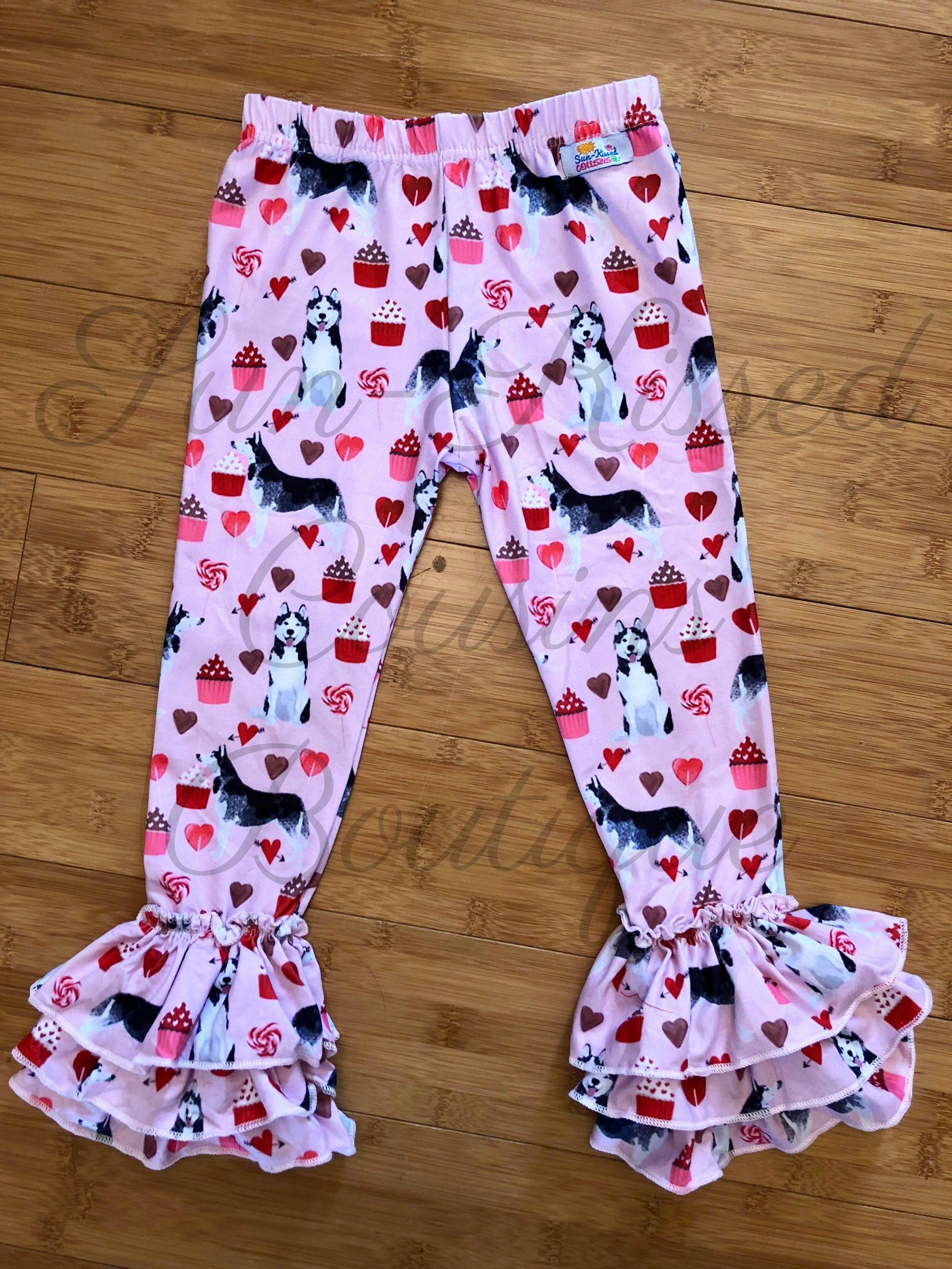 a457747af1a40 Ruffle Leggings - Valentine's Day Dogs 18m, 3T – Sun-Kissed Cousins ...