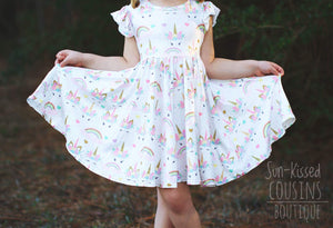 Pastel Unicorn Twirl Dress - size 6/12m