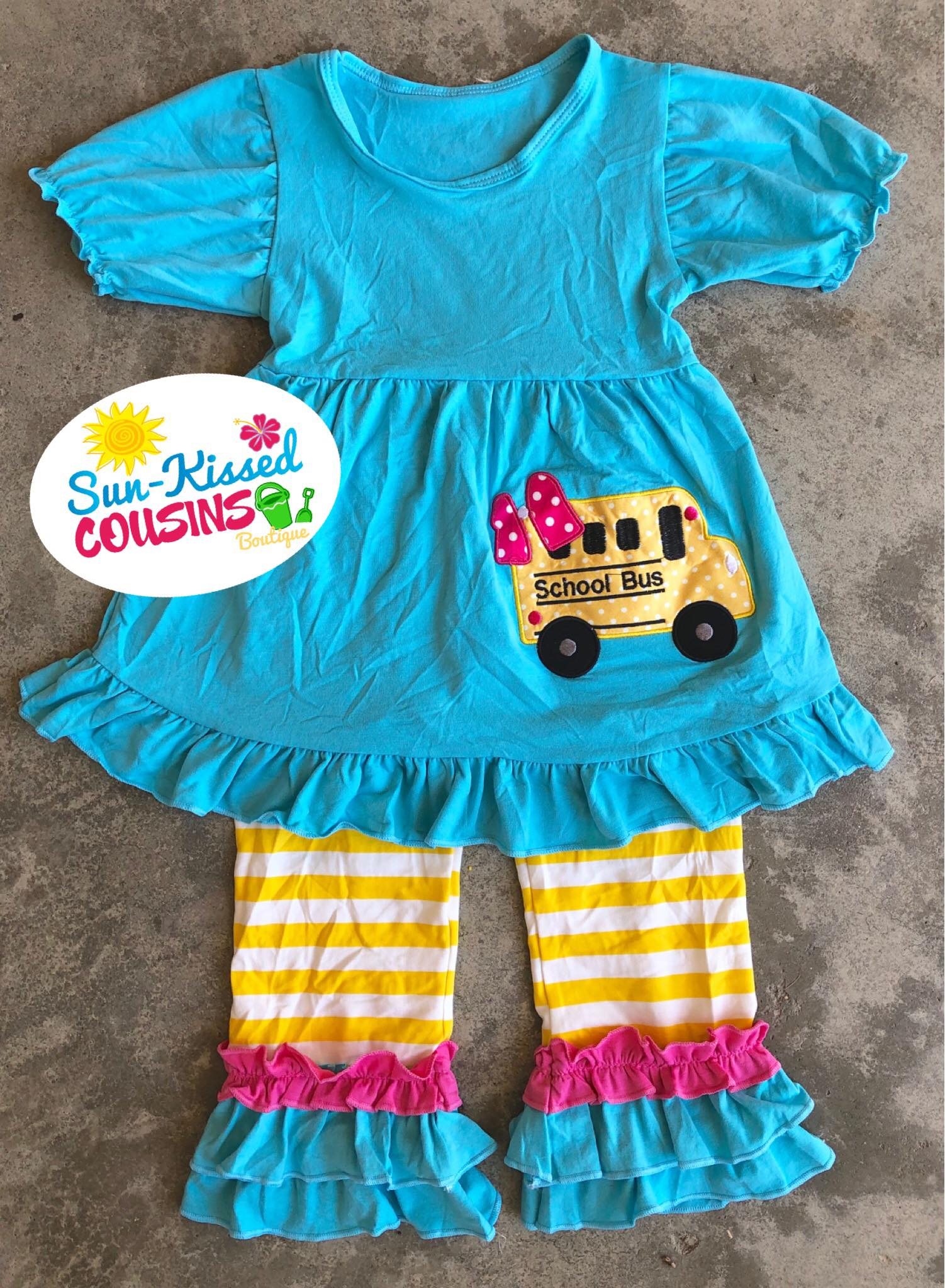 School Bus Ruffle Pants Outfit