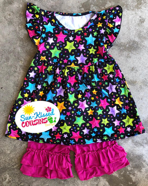 Star Pearl & Ruffle Shorts Set