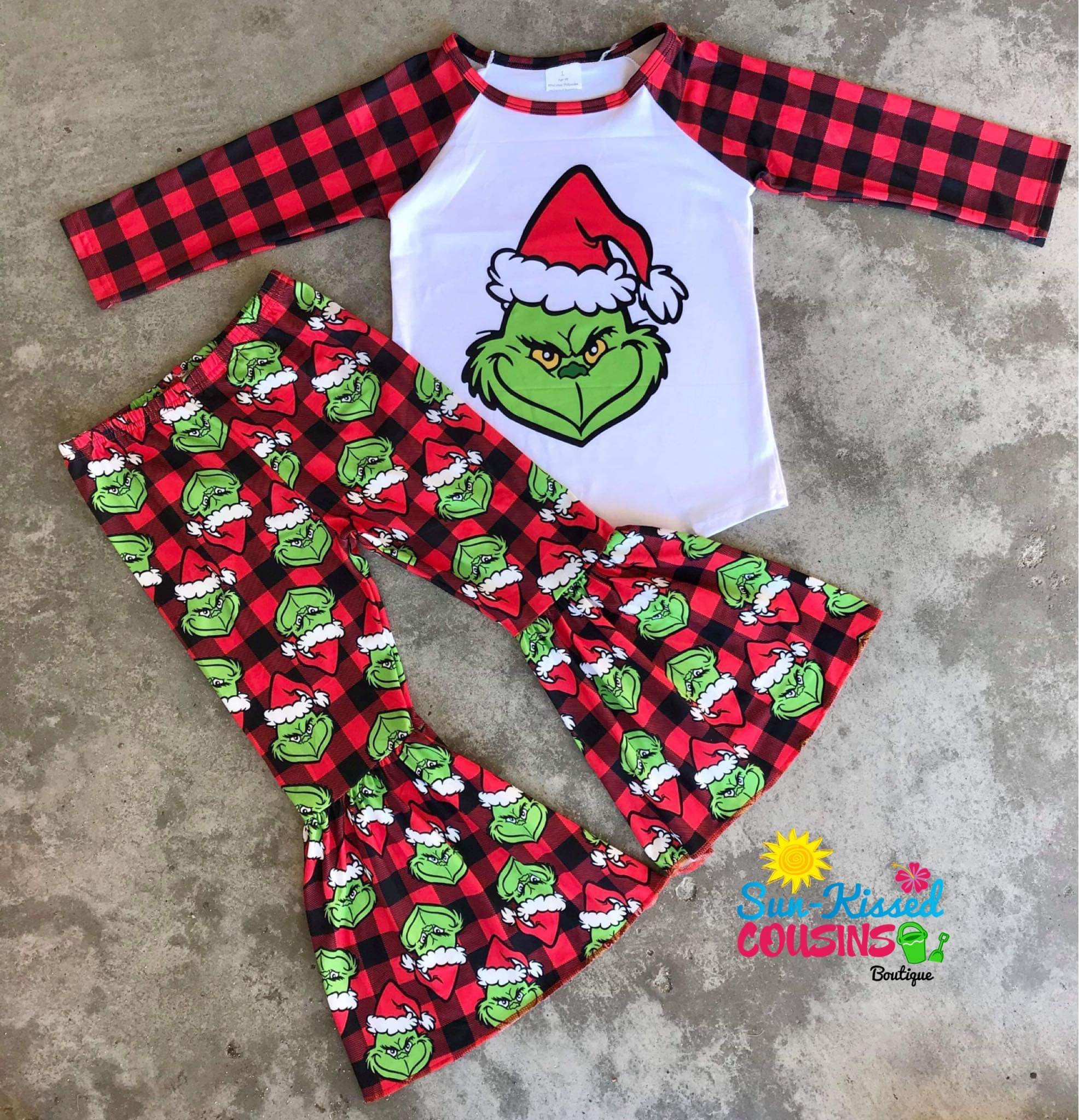 Plaid Grinch Raglan & Bells Set - 3T