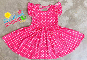 Hot Pink Dot Cross-Back Twirl Dress