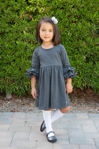 Heathered Charcoal 3/4 Bell Sleeve Dress