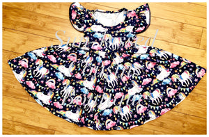 Rainbow and Unicorn Twirl Dress - size 6/12