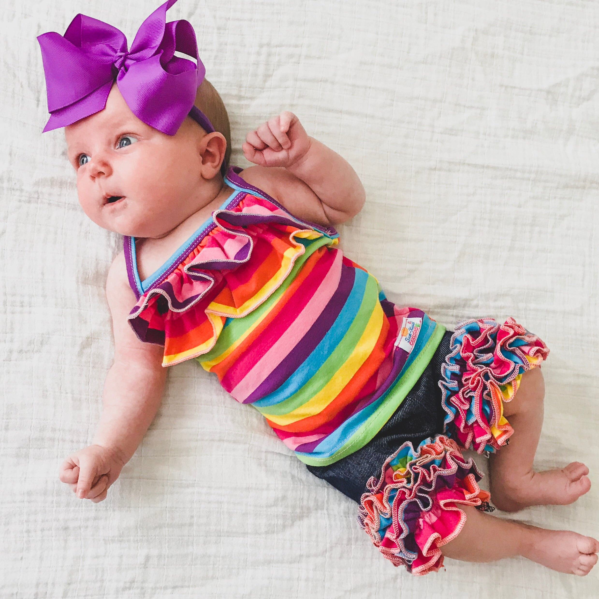 Icing Shorts - Denim with Rainbow Ruffles - Size 3m