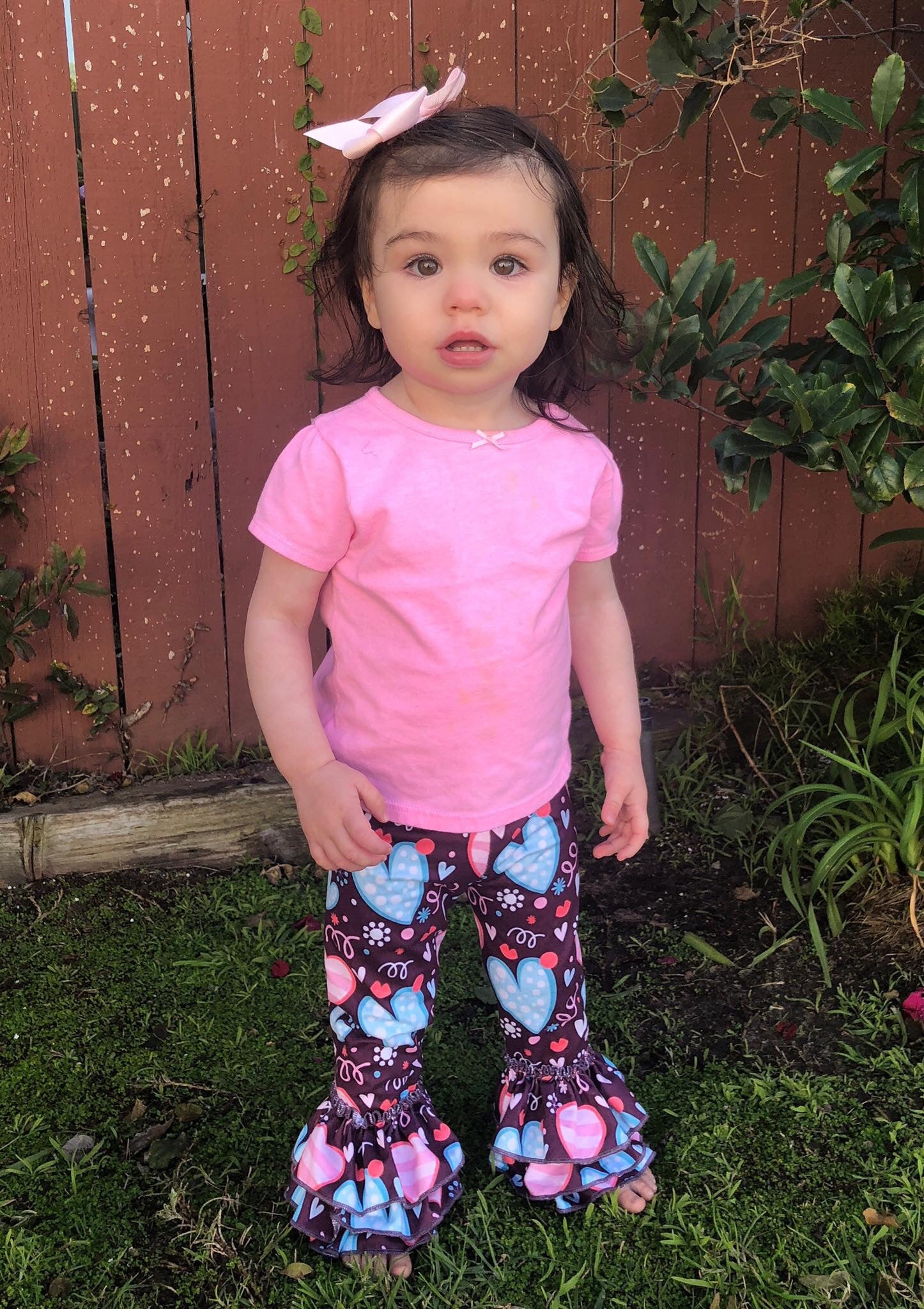 Ruffle Leggings - Valentine's Day Plum Hearts 6m