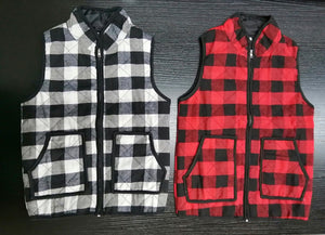 Plaid Zippered Vest - Available in White 5T