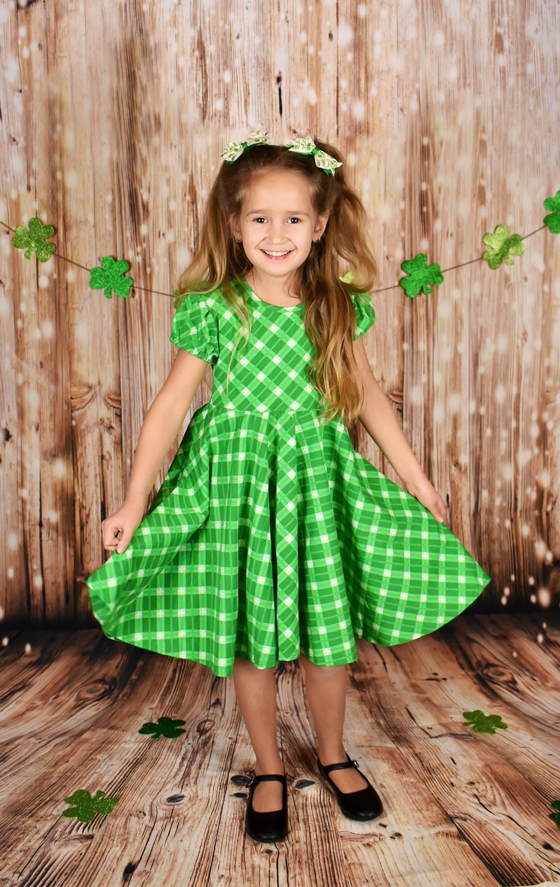 Green Plaid Twirly Lap Dress