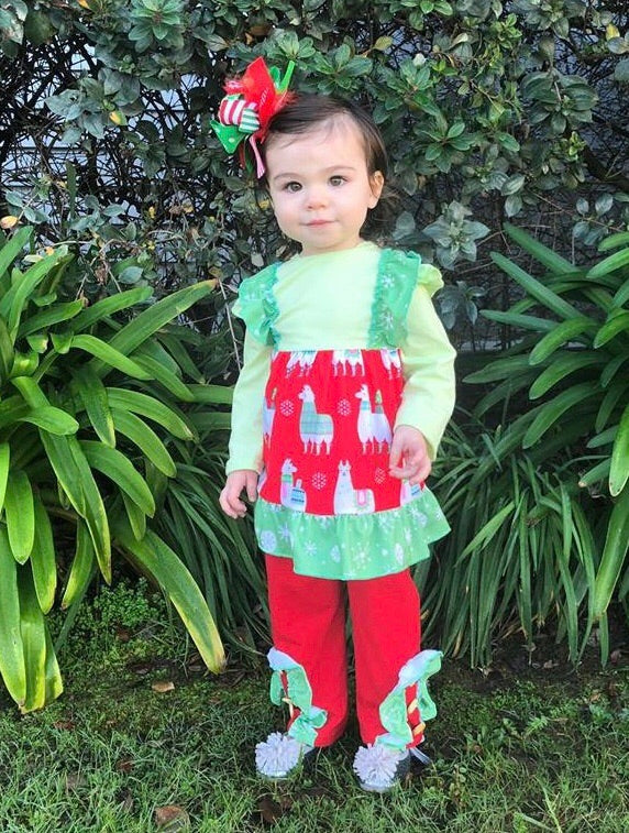 Christmas Llama Dress Set