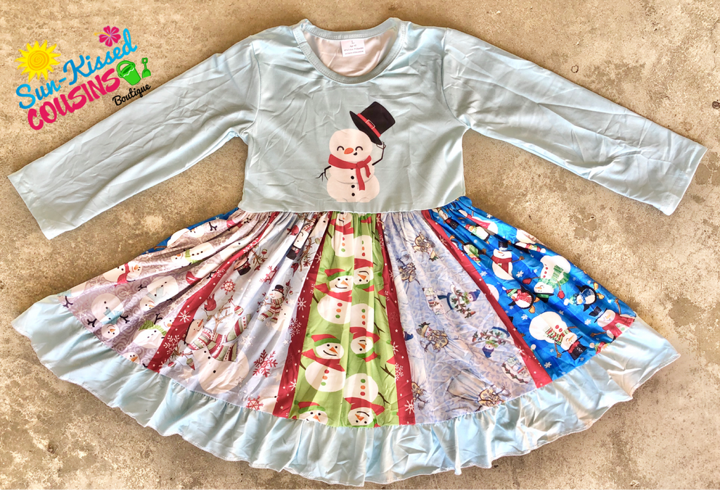 Snowman Panel Twirl Dress