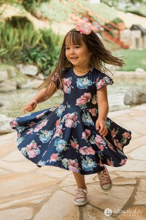 Navy Floral Twirl Dress