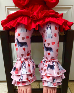 Ruffle Leggings - Valentine's Day Dogs -