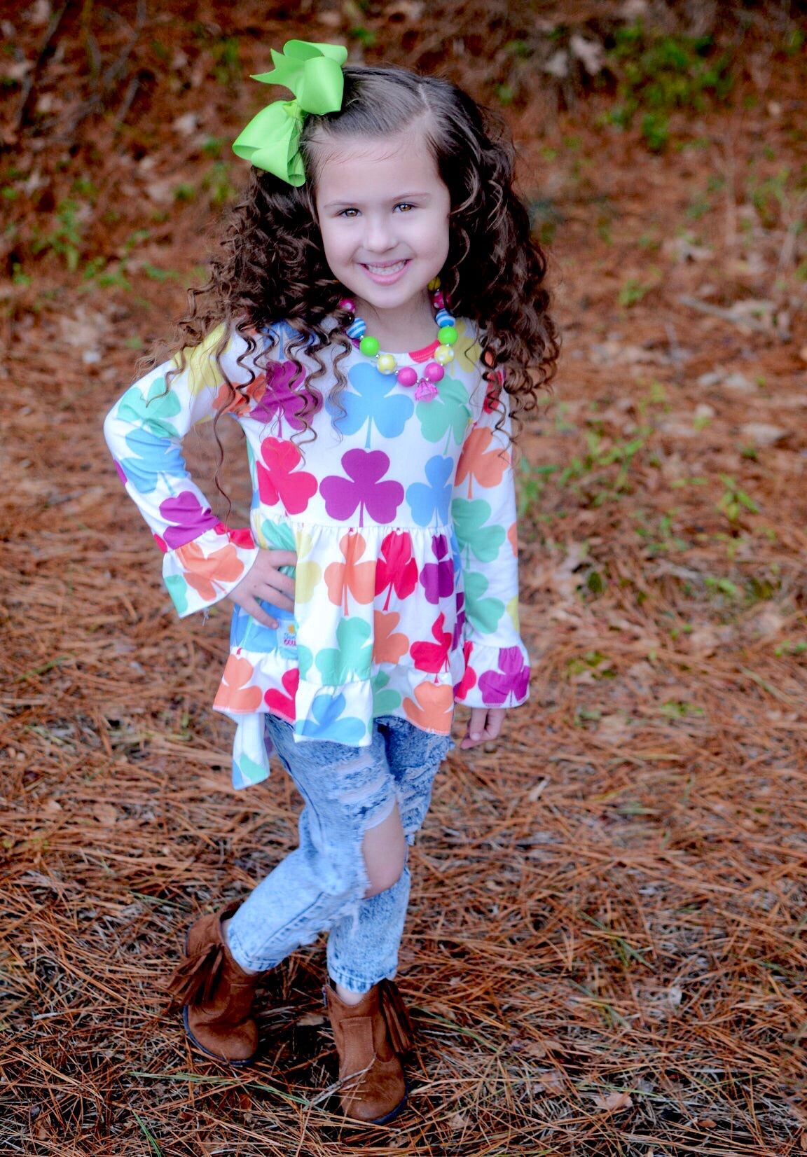 Rainbow Shamrock High Low