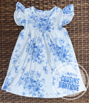 Baby Blue Toile Pearl Dress