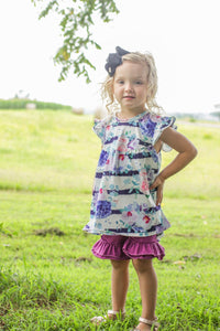 Floral Stripe Pearl & Shorts Set