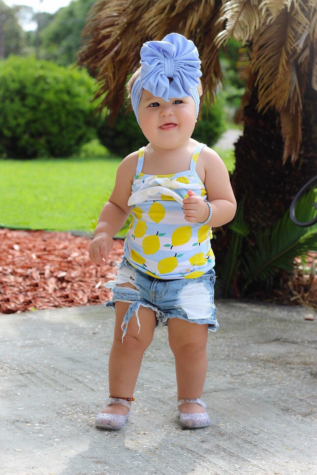 Ruffle Tank Top - Lemon Stripe