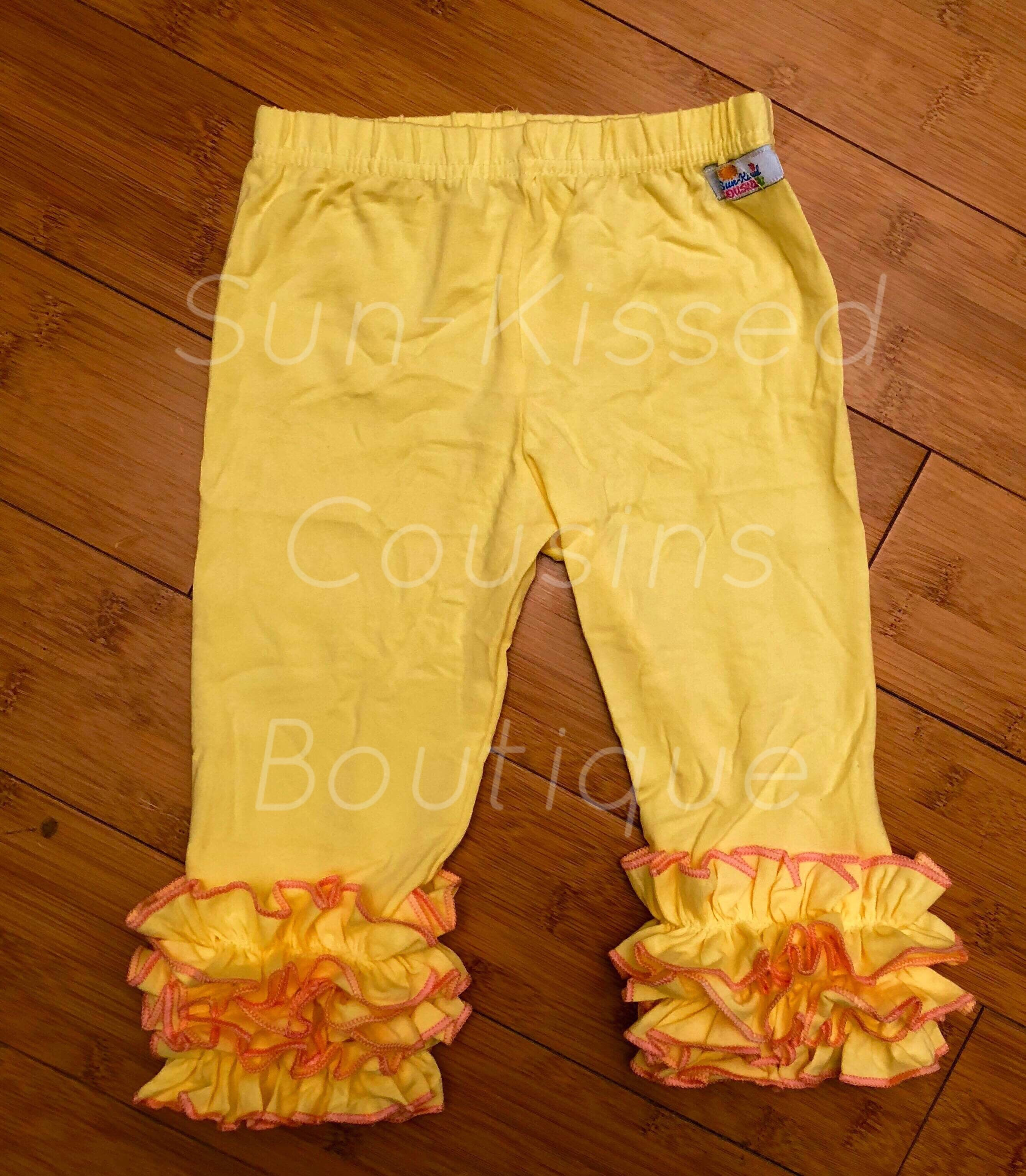 Icing Capris - Soft Yellow with Pink Threads 12m, 18m