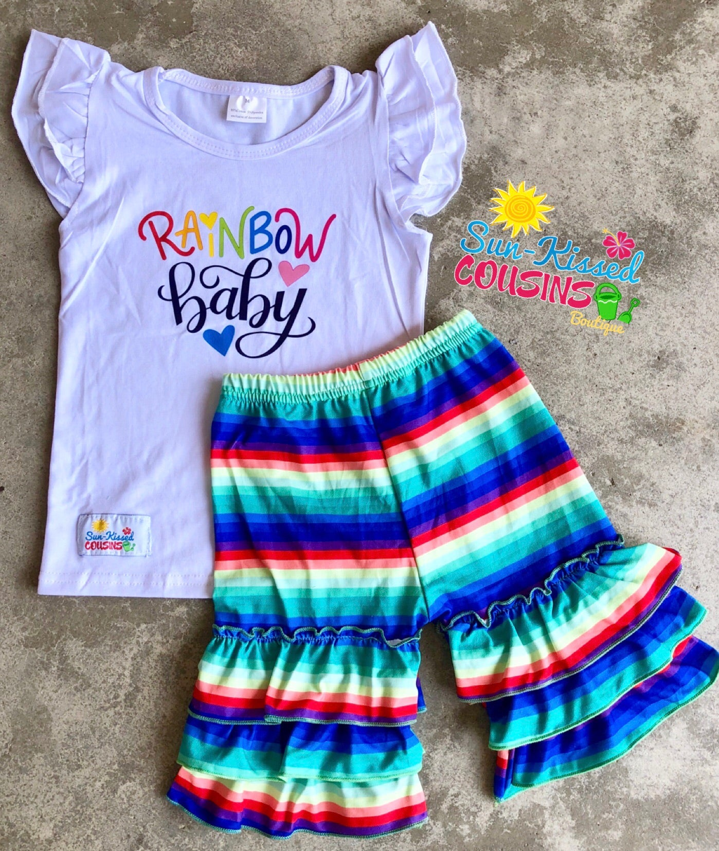 Rainbow Baby Ruffle Short Set