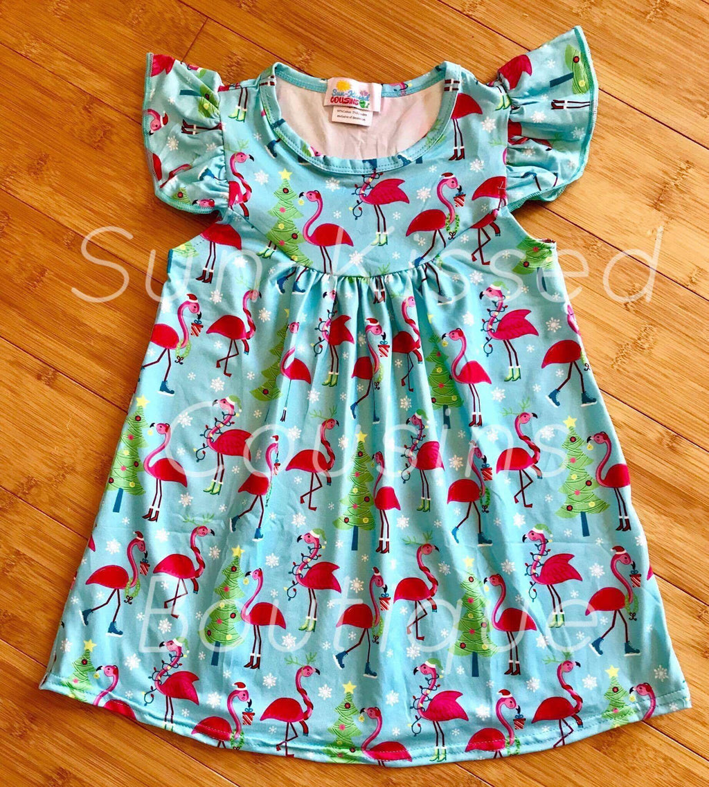 Christmas Flamingo Pearl Dress ( size 10/12)
