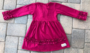 Triple Button Ruffle Dress - Burgundy