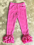 Hot Pink Stripe Bell Ruffle Leggings