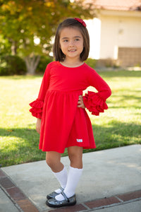 Red 3/4 Bell Sleeve Dress