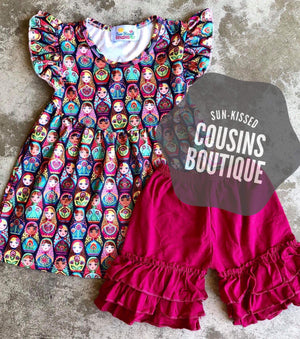 Nesting Doll Pearl Tunic & Shorts Set