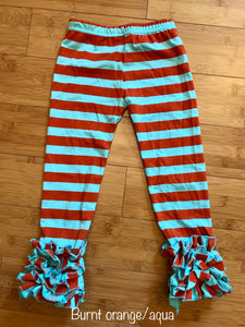 Icing Leggings - Striped burnt orange/aqua size 1-2