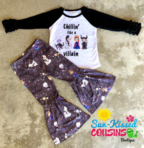 """Chillin Like a Villain"" Icing Raglan & Bells Set"