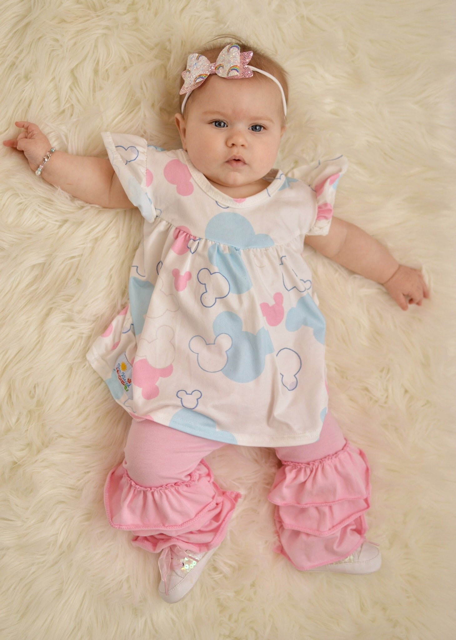 Pink and Blue Mickey Head Capri Set