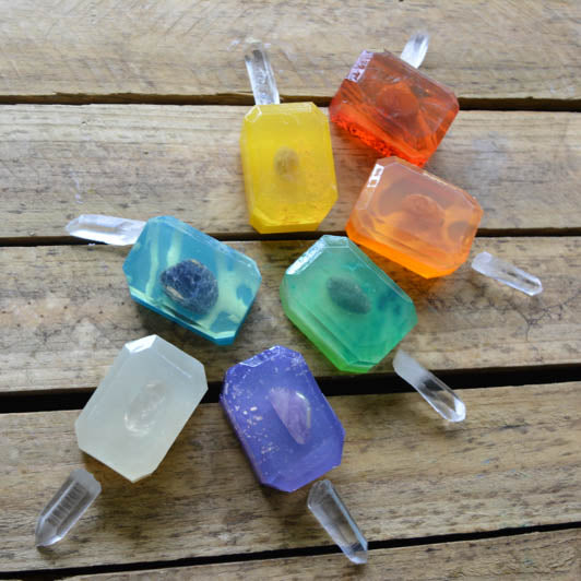 Mini Chakra Crystal Soap Set