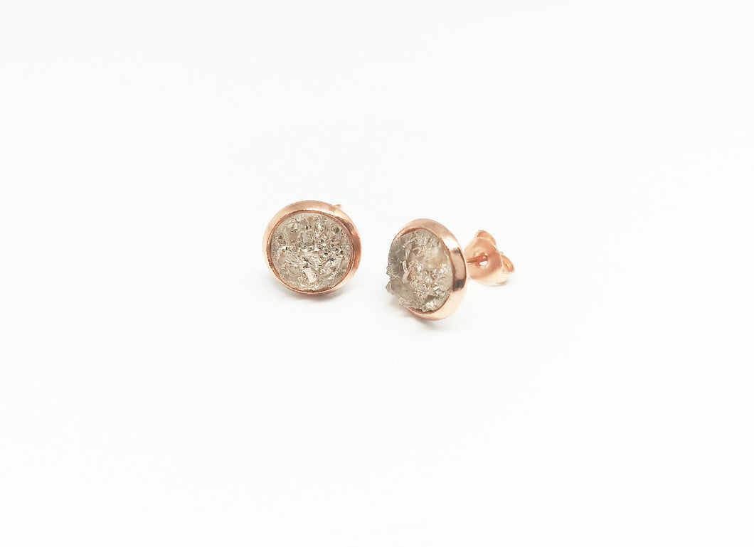 8mm faux Druzy Stud earring in Rose gold color setting