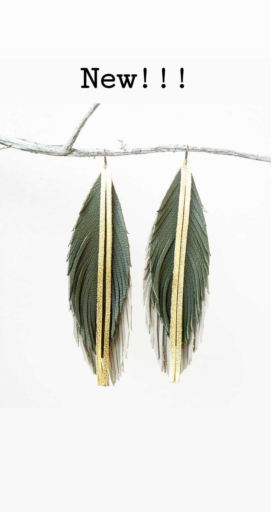 Army green/putty feather leather earrings